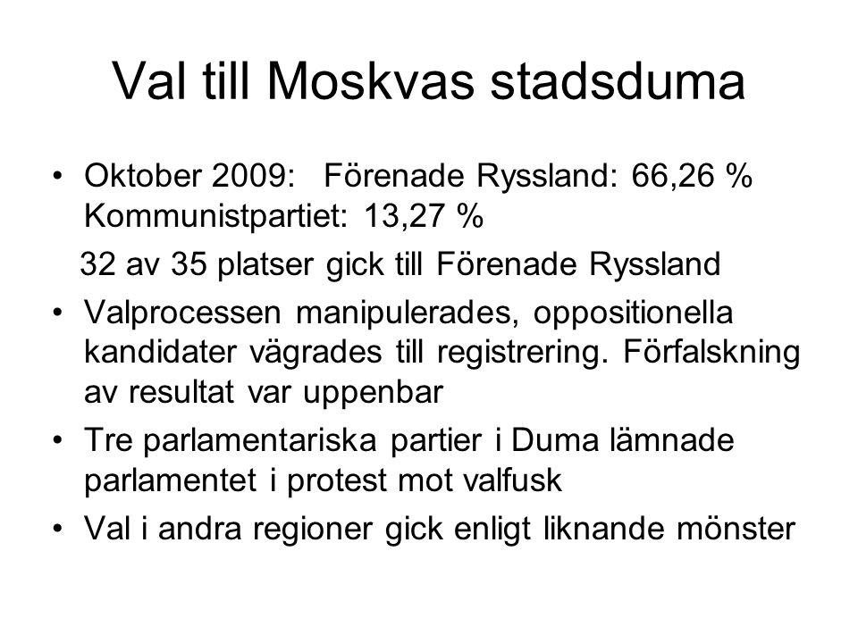 Val till Moskvas stadsduma •Oktober 2009: Förenade Ryssland: 66,26 % Kommunistpartiet: 13,27 % 32 av 35 platser gick till Förenade Ryssland •Valproces