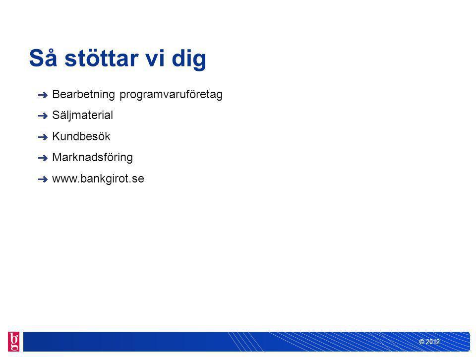 © 2012 Så stöttar vi dig Bearbetning programvaruföretag Säljmaterial Kundbesök Marknadsföring www.bankgirot.se