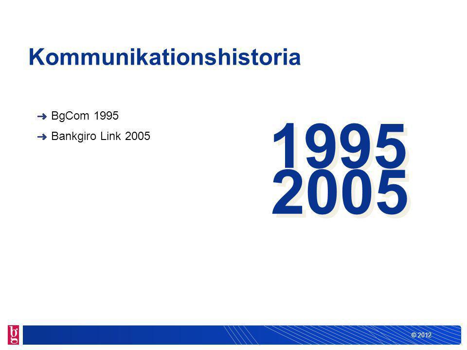 © 2012 Kommunikationshistoria BgCom 1995 Bankgiro Link 2005 1995 2005