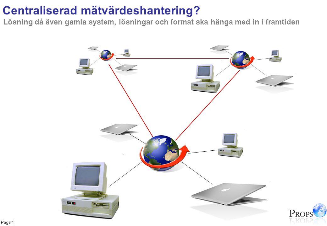 Page 4 Centraliserad mätvärdeshantering? Lösning då även gamla system, lösningar och format ska hänga med in i framtiden