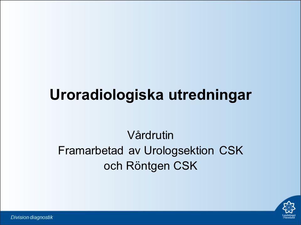Division diagnostik Uroradiologiska utredningar Vårdrutin Framarbetad av Urologsektion CSK och Röntgen CSK