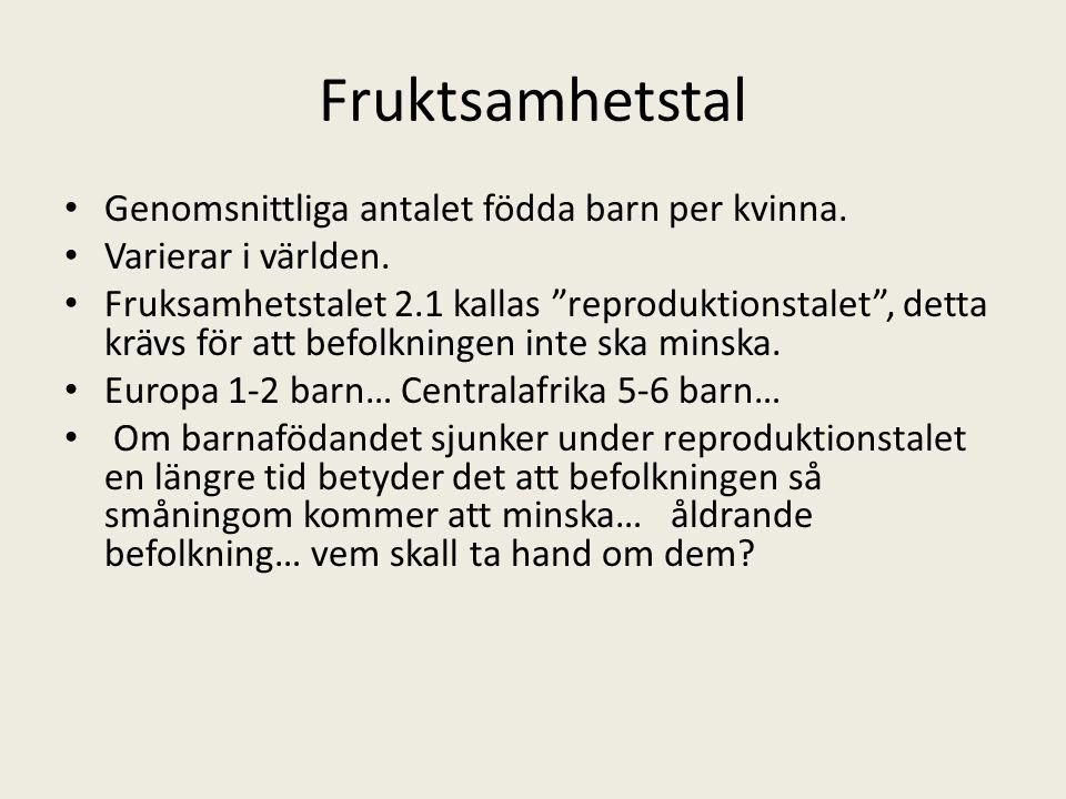 """Fruktsamhetstal • Genomsnittliga antalet födda barn per kvinna. • Varierar i världen. • Fruksamhetstalet 2.1 kallas """"reproduktionstalet"""", detta krävs"""