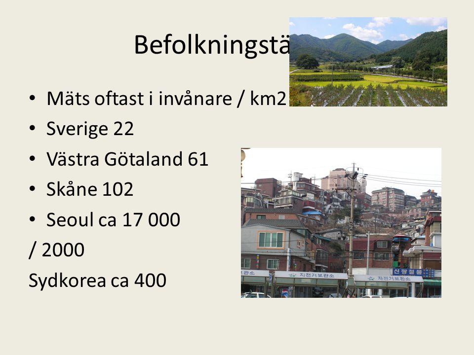 Befolkningstäthet • Mäts oftast i invånare / km2 • Sverige 22 • Västra Götaland 61 • Skåne 102 • Seoul ca 17 000 / 2000 Sydkorea ca 400