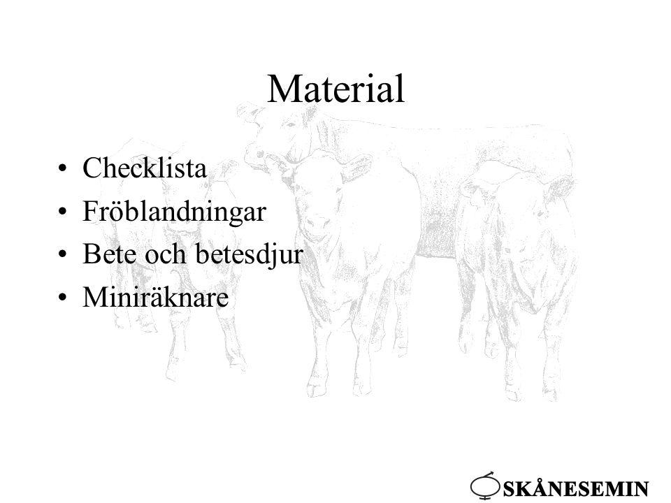 Material •Checklista •Fröblandningar •Bete och betesdjur •Miniräknare