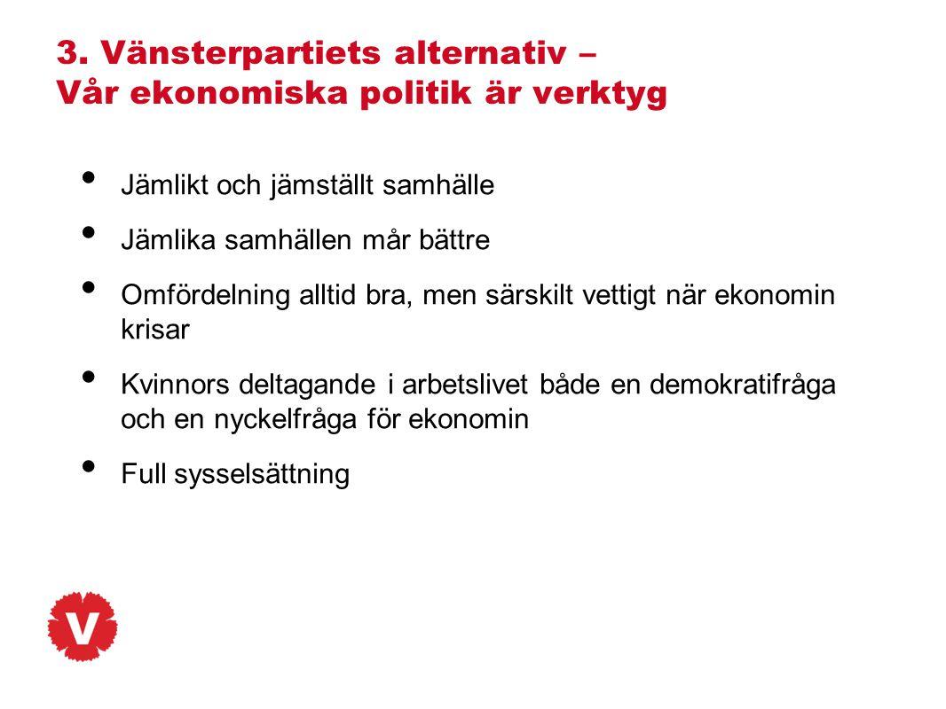 3. Vänsterpartiets alternativ – Vår ekonomiska politik är verktyg • Jämlikt och jämställt samhälle • Jämlika samhällen mår bättre • Omfördelning allti