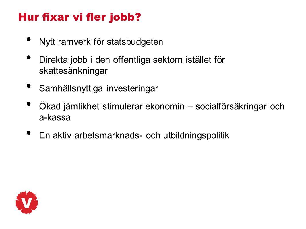 Hur fixar vi fler jobb? • Nytt ramverk för statsbudgeten • Direkta jobb i den offentliga sektorn istället för skattesänkningar • Samhällsnyttiga inves