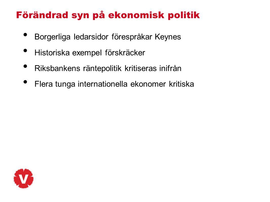 Förändrad syn på ekonomisk politik • Borgerliga ledarsidor förespråkar Keynes • Historiska exempel förskräcker • Riksbankens räntepolitik kritiseras i