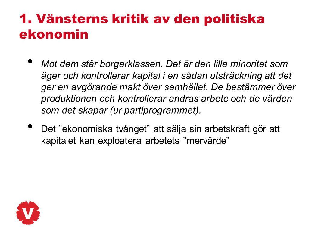 1. Vänsterns kritik av den politiska ekonomin • Mot dem står borgarklassen. Det är den lilla minoritet som äger och kontrollerar kapital i en sådan ut
