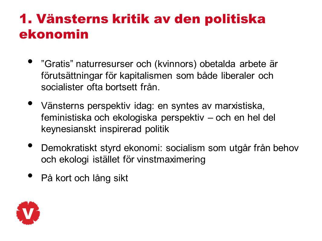 """1. Vänsterns kritik av den politiska ekonomin • """"Gratis"""" naturresurser och (kvinnors) obetalda arbete är förutsättningar för kapitalismen som både lib"""