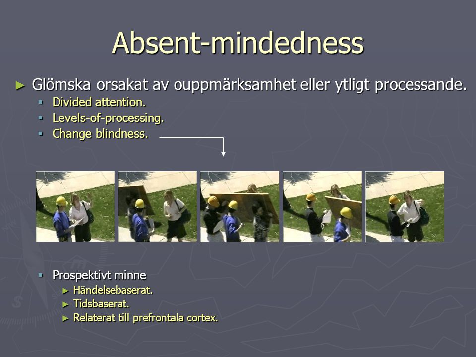 Absent-mindedness ► Glömska orsakat av ouppmärksamhet eller ytligt processande.  Divided attention.  Levels-of-processing.  Change blindness.  Pro
