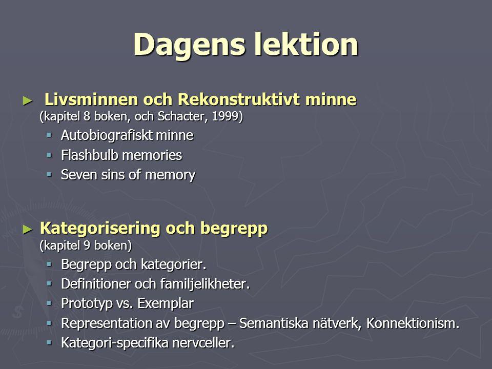 Dagens lektion ► Livsminnen och Rekonstruktivt minne (kapitel 8 boken, och Schacter, 1999)  Autobiografiskt minne  Flashbulb memories  Seven sins o