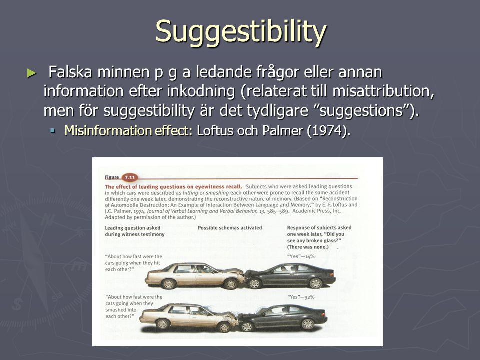 Suggestibility ► Falska minnen p g a ledande frågor eller annan information efter inkodning (relaterat till misattribution, men för suggestibility är