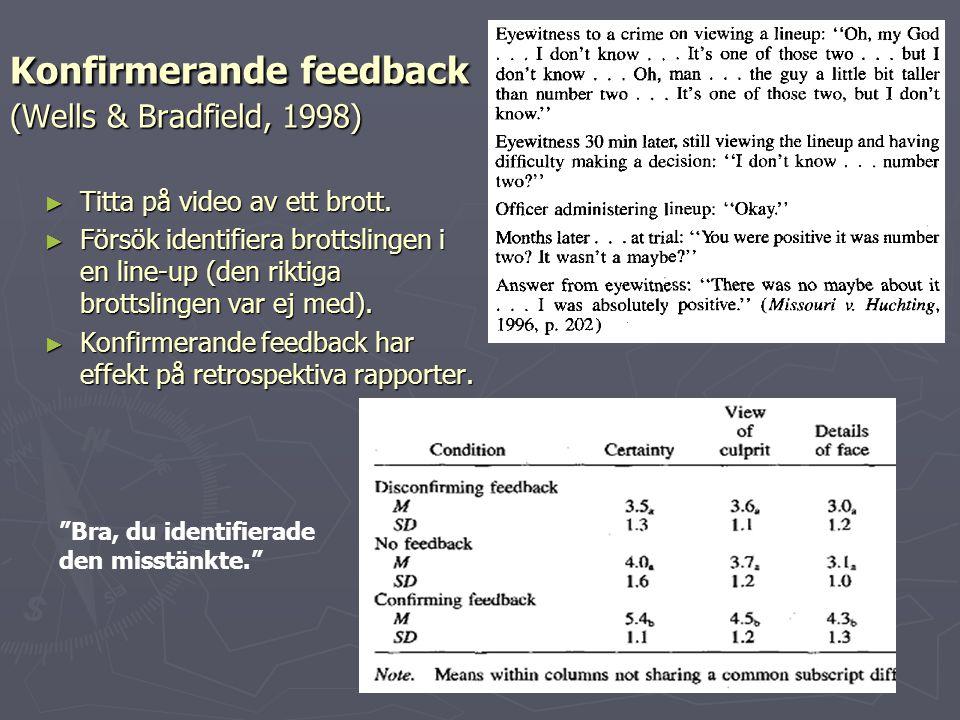 Konfirmerande feedback (Wells & Bradfield, 1998) ► Titta på video av ett brott. ► Försök identifiera brottslingen i en line-up (den riktiga brottsling