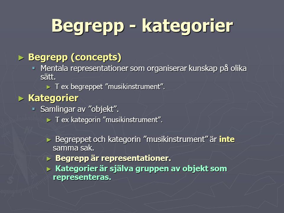 """Begrepp - kategorier ► Begrepp (concepts)  Mentala representationer som organiserar kunskap på olika sätt. ► T ex begreppet """"musikinstrument"""". ► Kate"""