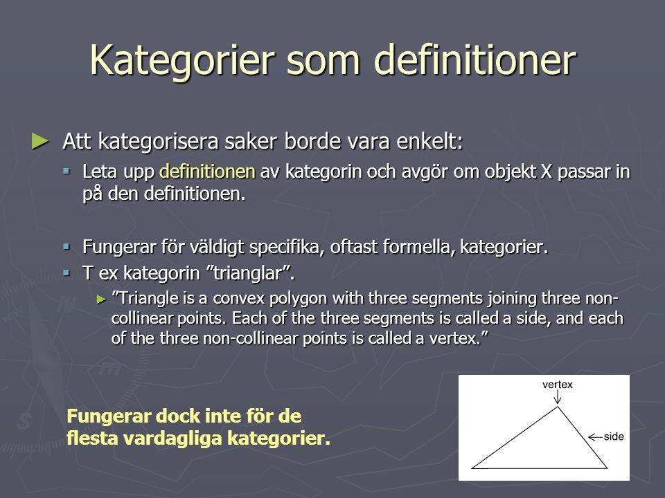 Kategorier som definitioner ► Att kategorisera saker borde vara enkelt:  Leta upp definitionen av kategorin och avgör om objekt X passar in på den de