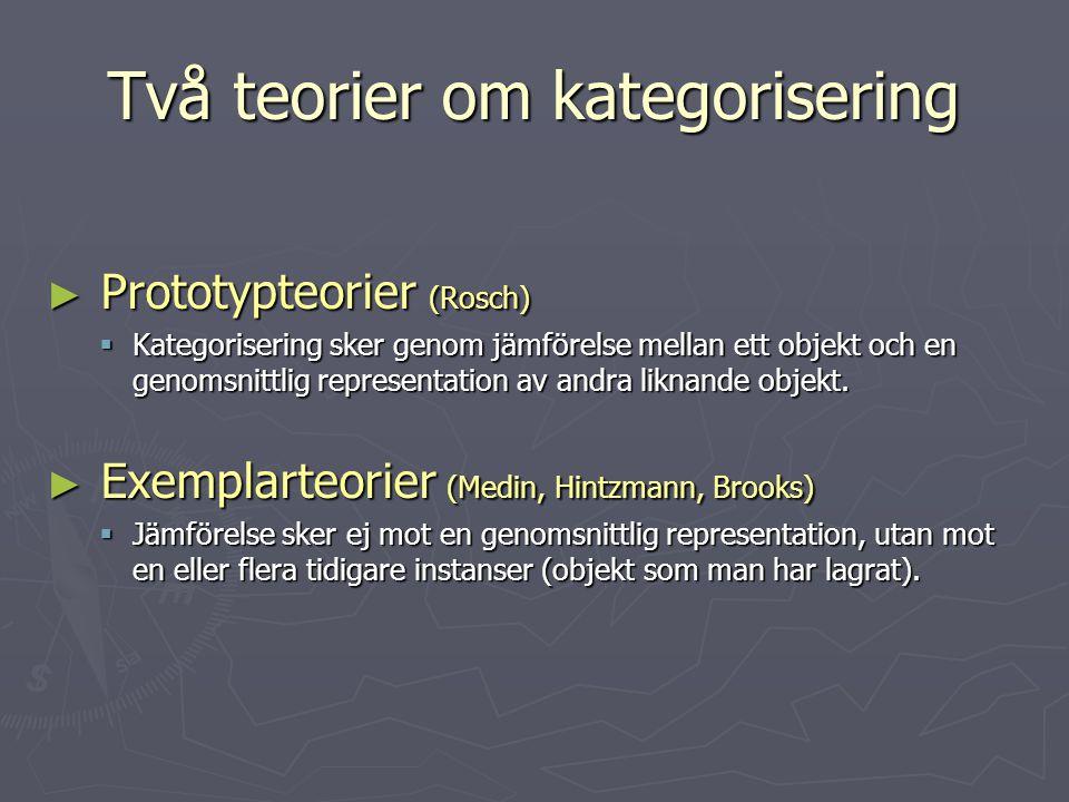 Två teorier om kategorisering ► Prototypteorier (Rosch)  Kategorisering sker genom jämförelse mellan ett objekt och en genomsnittlig representation a