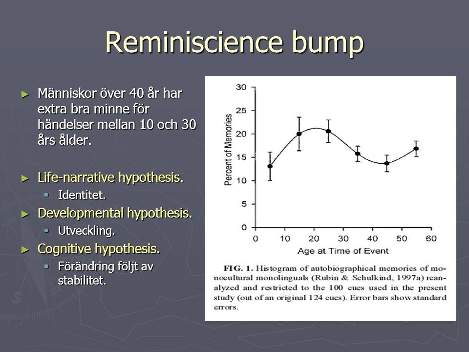 Reminiscience bump ► Människor över 40 år har extra bra minne för händelser mellan 10 och 30 års ålder. ► Life-narrative hypothesis.  Identitet. ► De
