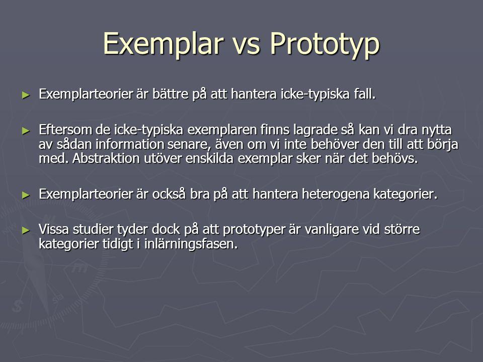 Exemplar vs Prototyp ► Exemplarteorier är bättre på att hantera icke-typiska fall. ► Eftersom de icke-typiska exemplaren finns lagrade så kan vi dra n