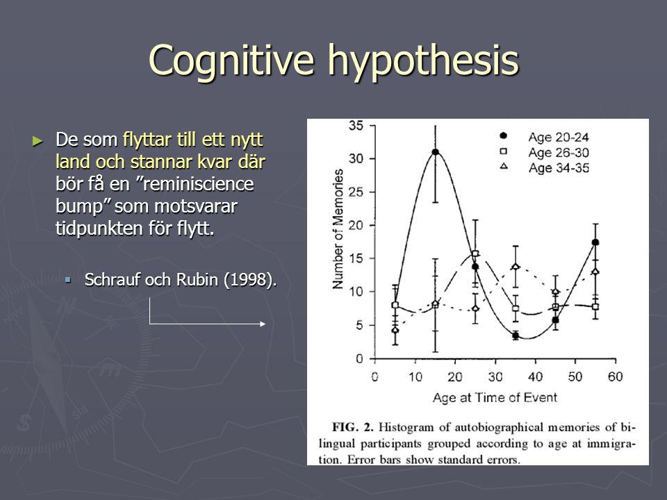 """Cognitive hypothesis ► De som flyttar till ett nytt land och stannar kvar där bör få en """"reminiscience bump"""" som motsvarar tidpunkten för flytt.  Sch"""