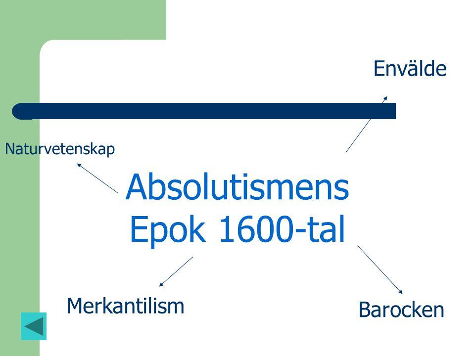 Absolutismens Epok 1600-tal Envälde Barocken Merkantilism Naturvetenskap