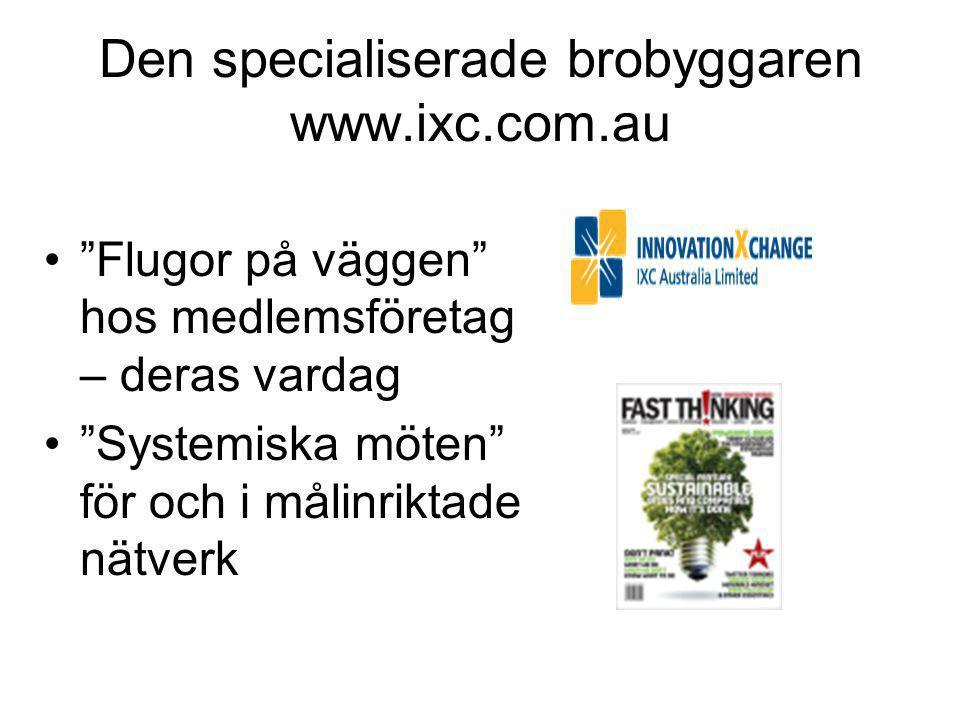 Den specialiserade brobyggaren www.ixc.com.au • Flugor på väggen hos medlemsföretag – deras vardag • Systemiska möten för och i målinriktade nätverk