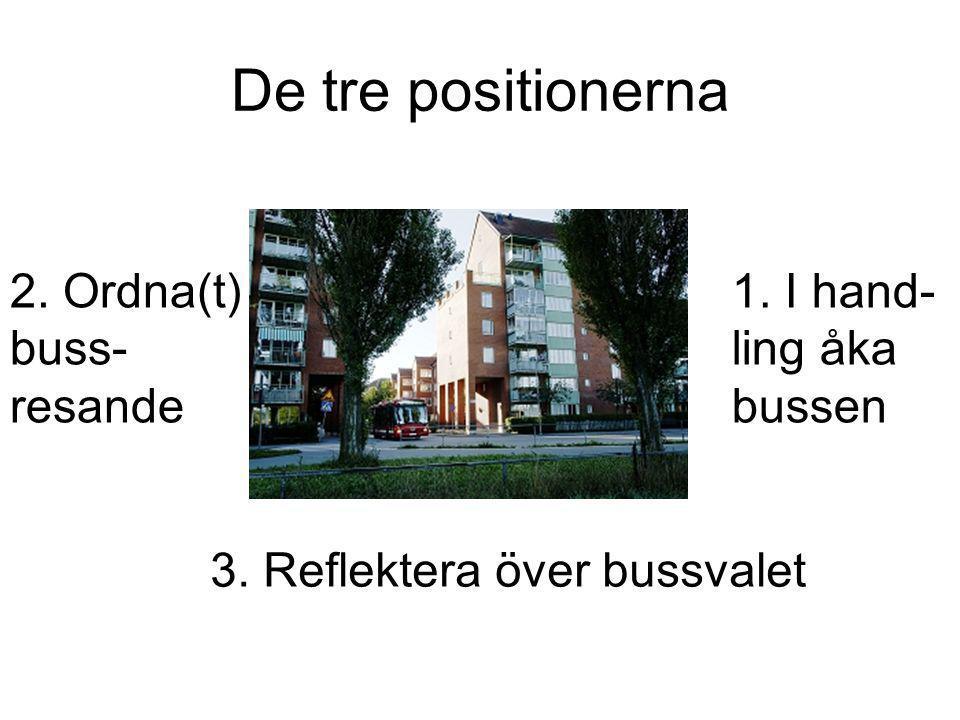 De tre positionerna 1. I hand- ling åka bussen 2.