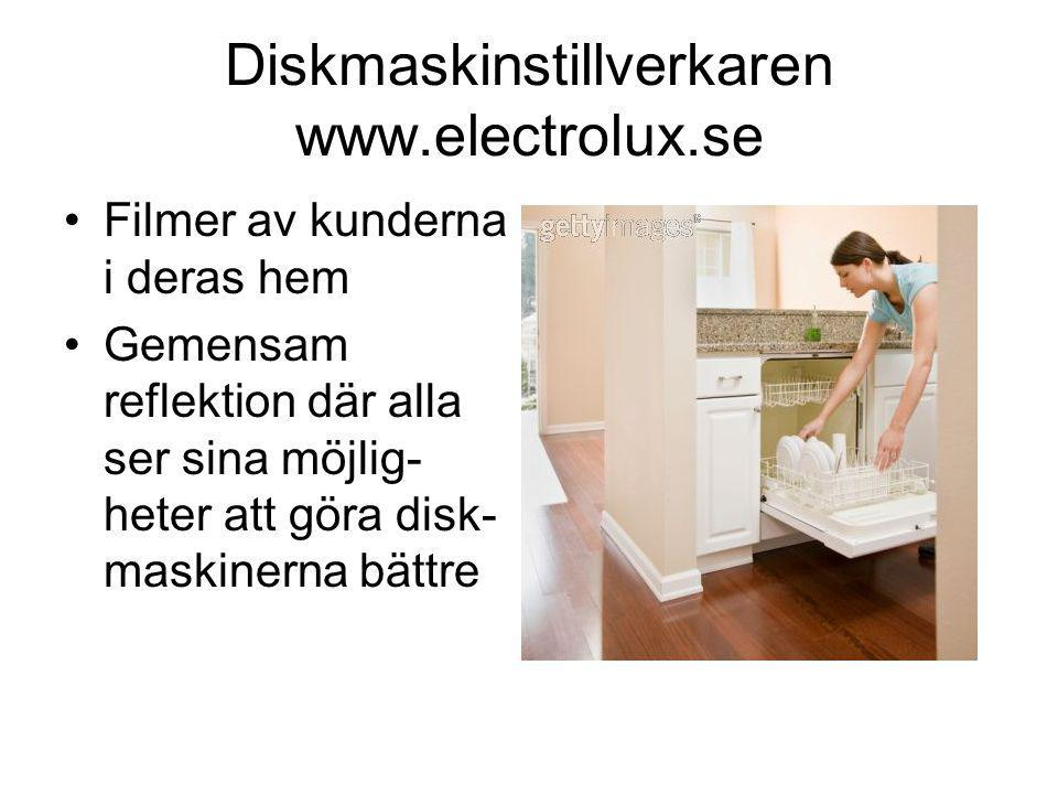 Diskmaskinstillverkaren www.electrolux.se •Filmer av kunderna i deras hem •Gemensam reflektion där alla ser sina möjlig- heter att göra disk- maskinerna bättre