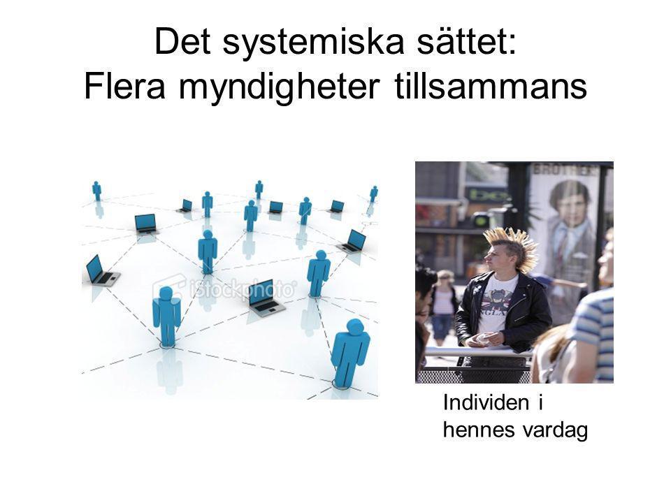Ett annorlunda arbetssätt Utredningsbaserat Berättelsebaserat Agendastyrt Systemiskt Agendastyrda möten Systemiska möten Varje myndighet för sig Flera myndigheter tillsammans