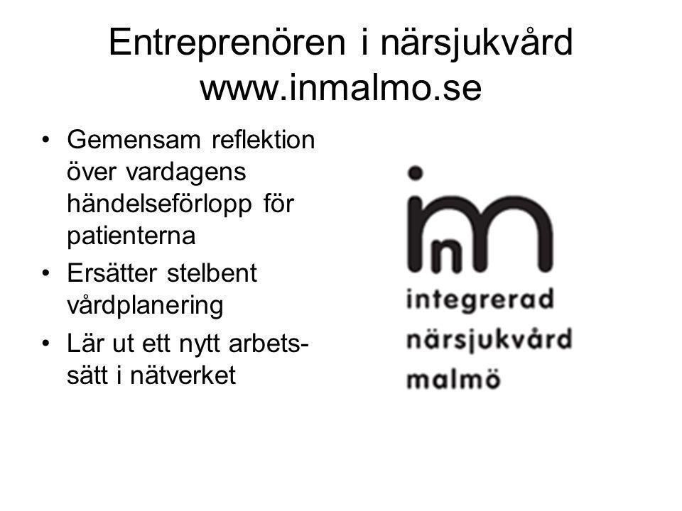Entreprenören i närsjukvård www.inmalmo.se •Gemensam reflektion över vardagens händelseförlopp för patienterna •Ersätter stelbent vårdplanering •Lär ut ett nytt arbets- sätt i nätverket