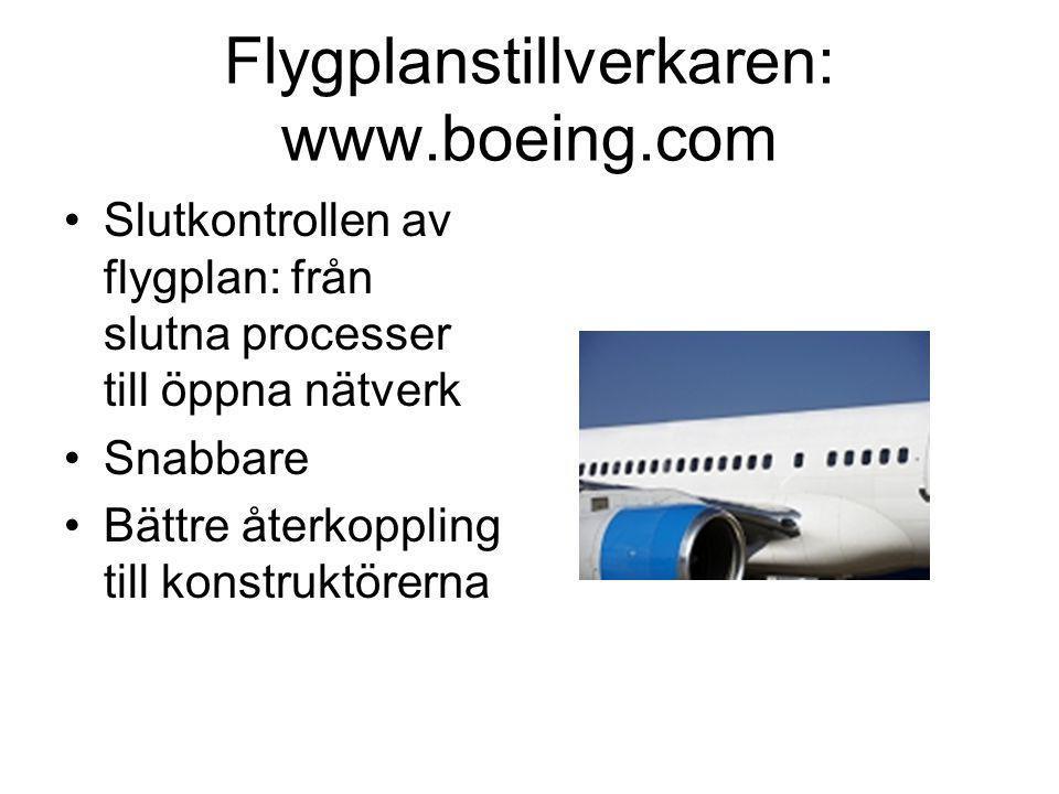 Flygplanstillverkaren: www.boeing.com •Slutkontrollen av flygplan: från slutna processer till öppna nätverk •Snabbare •Bättre återkoppling till konstruktörerna