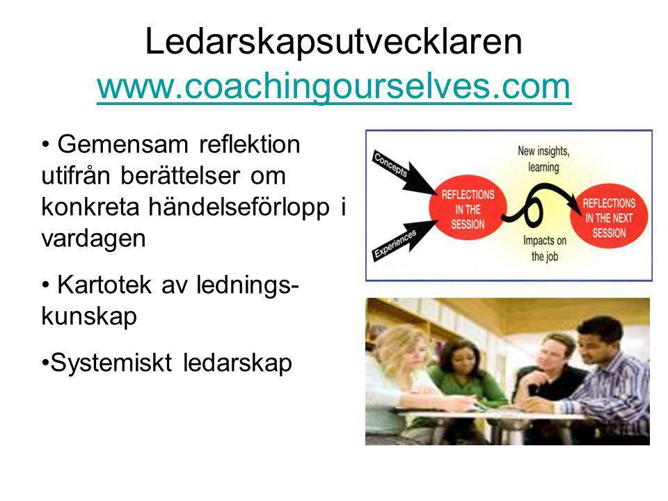 Ledarskapsutvecklaren www.coachingourselves.com www.coachingourselves.com • Gemensam reflektion utifrån berättelser om konkreta händelseförlopp i vardagen • Kartotek av lednings- kunskap •Systemiskt ledarskap