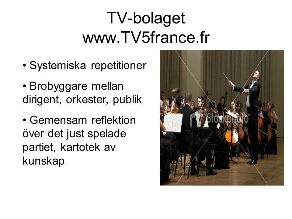 TV-bolaget www.TV5france.fr • Systemiska repetitioner • Brobyggare mellan dirigent, orkester, publik • Gemensam reflektion över det just spelade partiet, kartotek av kunskap