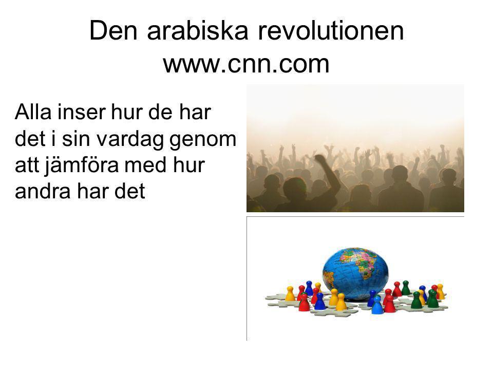 Den arabiska revolutionen www.cnn.com Alla inser hur de har det i sin vardag genom att jämföra med hur andra har det