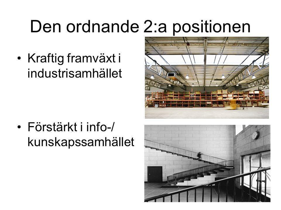 Den ordnande 2:a positionen •Kraftig framväxt i industrisamhället •Förstärkt i info-/ kunskapssamhället