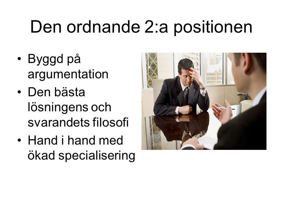 Den ordnande 2:a positionen •Byggd på argumentation •Den bästa lösningens och svarandets filosofi •Hand i hand med ökad specialisering