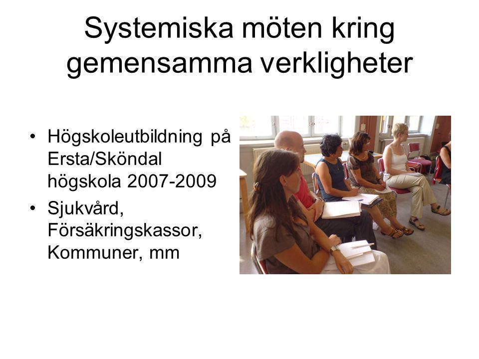 Systemiska möten kring gemensamma verkligheter •Högskoleutbildning på Ersta/Sköndal högskola 2007-2009 •Sjukvård, Försäkringskassor, Kommuner, mm