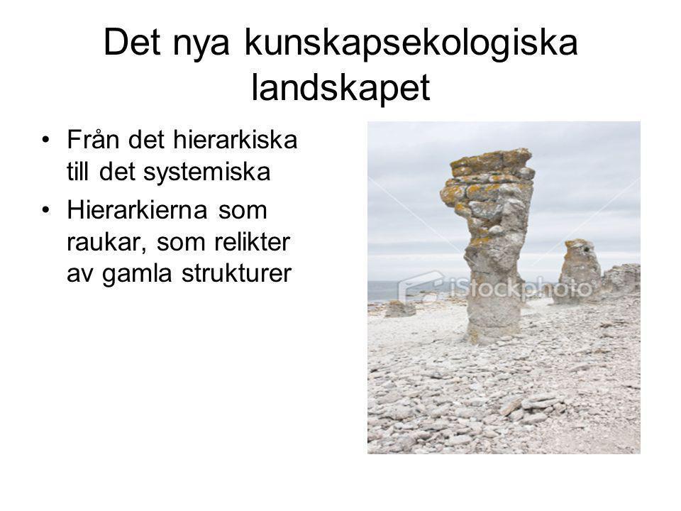 Det nya kunskapsekologiska landskapet •Från det hierarkiska till det systemiska •Hierarkierna som raukar, som relikter av gamla strukturer