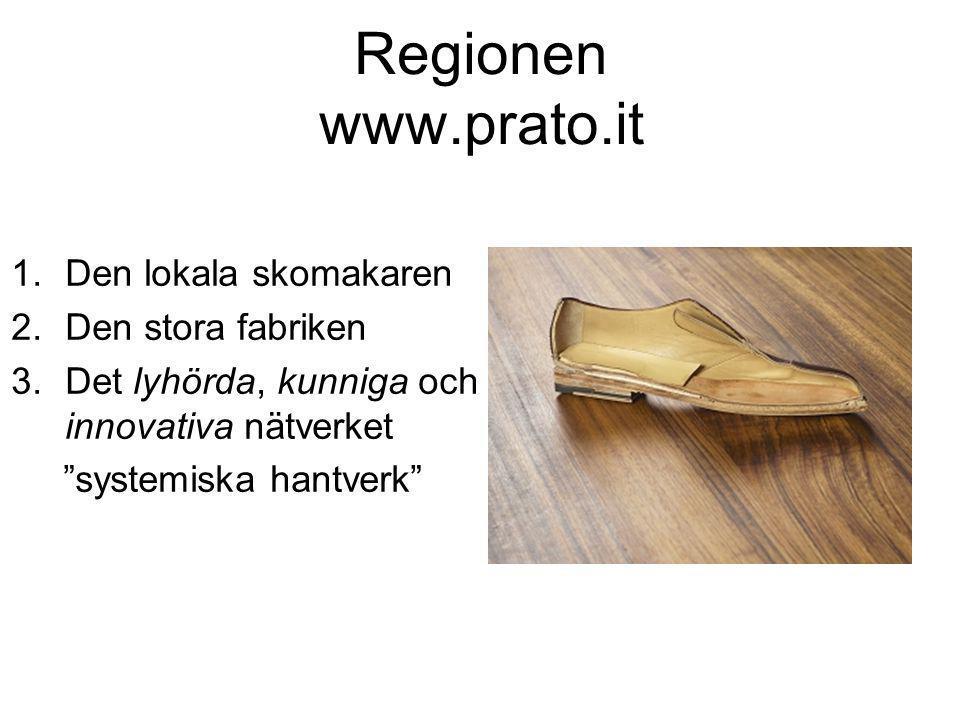 Regionen www.prato.it 1.Den lokala skomakaren 2.Den stora fabriken 3.Det lyhörda, kunniga och innovativa nätverket systemiska hantverk