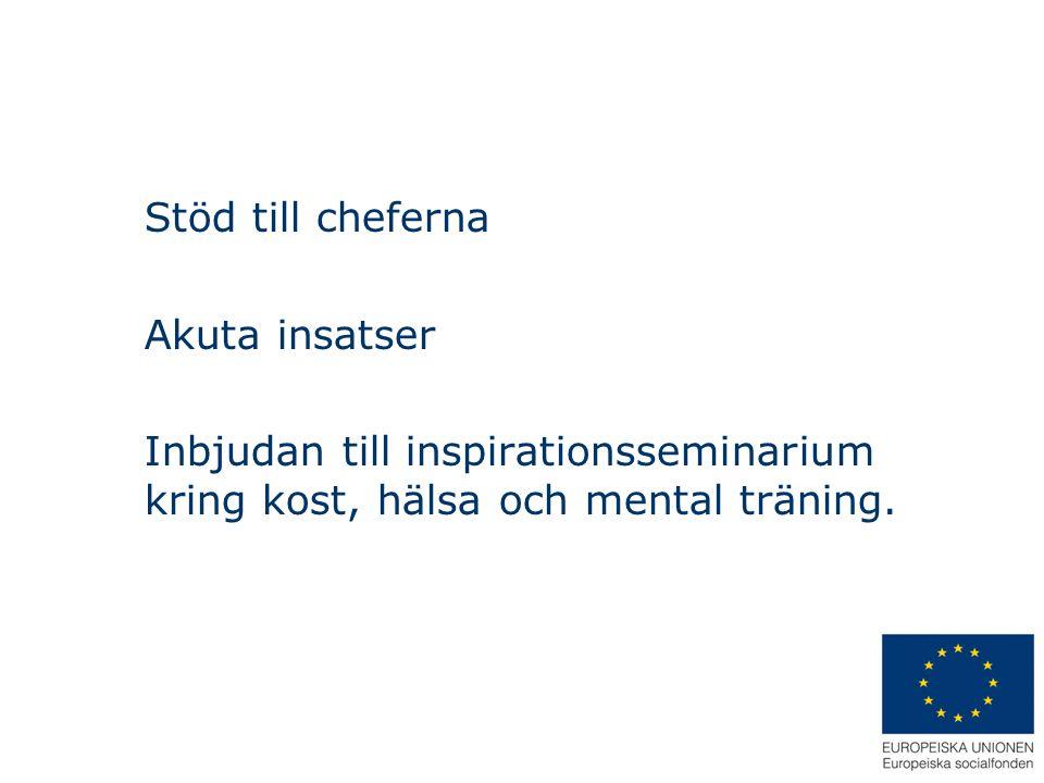 Stöd till cheferna Akuta insatser Inbjudan till inspirationsseminarium kring kost, hälsa och mental träning.