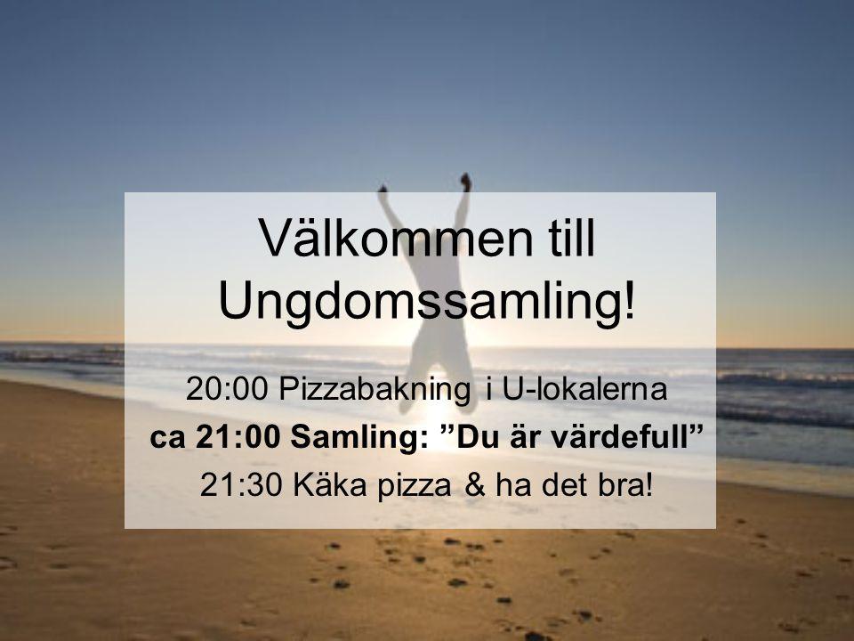 """Välkommen till Ungdomssamling! 20:00 Pizzabakning i U-lokalerna ca 21:00 Samling: """"Du är värdefull"""" 21:30 Käka pizza & ha det bra!"""