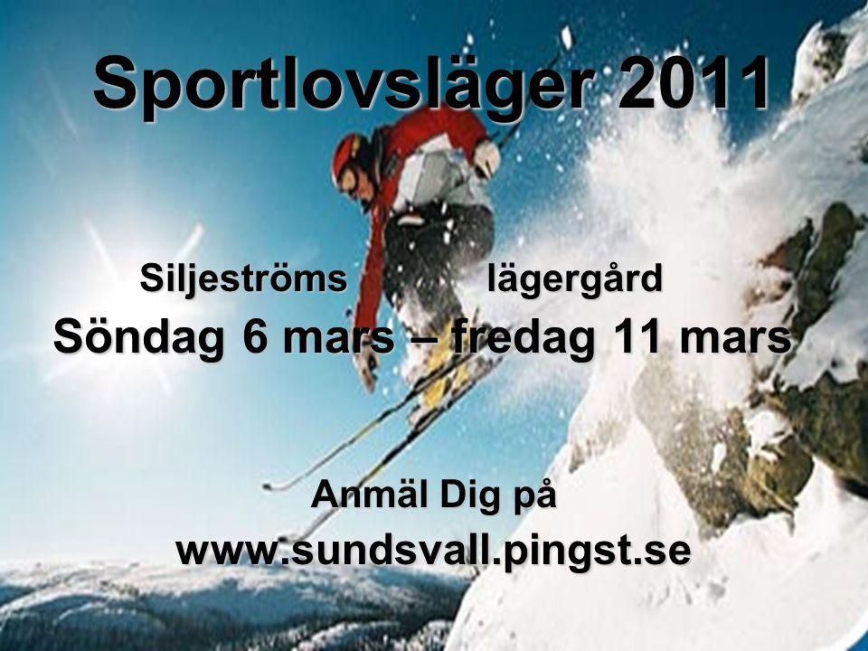 Sportlovsläger 2011 Siljeströmslägergård Söndag 6 mars – fredag 11 mars Anmäl Dig på www.sundsvall.pingst.se