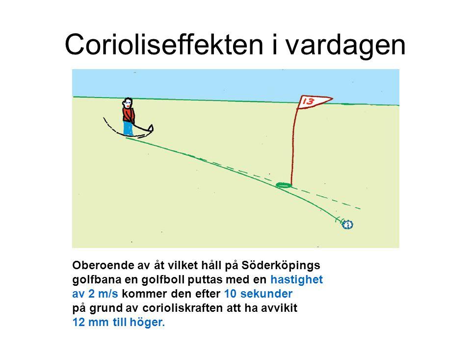 Corioliseffekten i vardagen Oberoende av åt vilket håll på Söderköpings golfbana en golfboll puttas med en hastighet av 2 m/s kommer den efter 10 seku