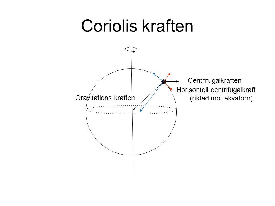 Coriolis kraften Centrifugalkraften Horisontell centrifugalkraft (riktad mot ekvatorn) Gravitations kraften