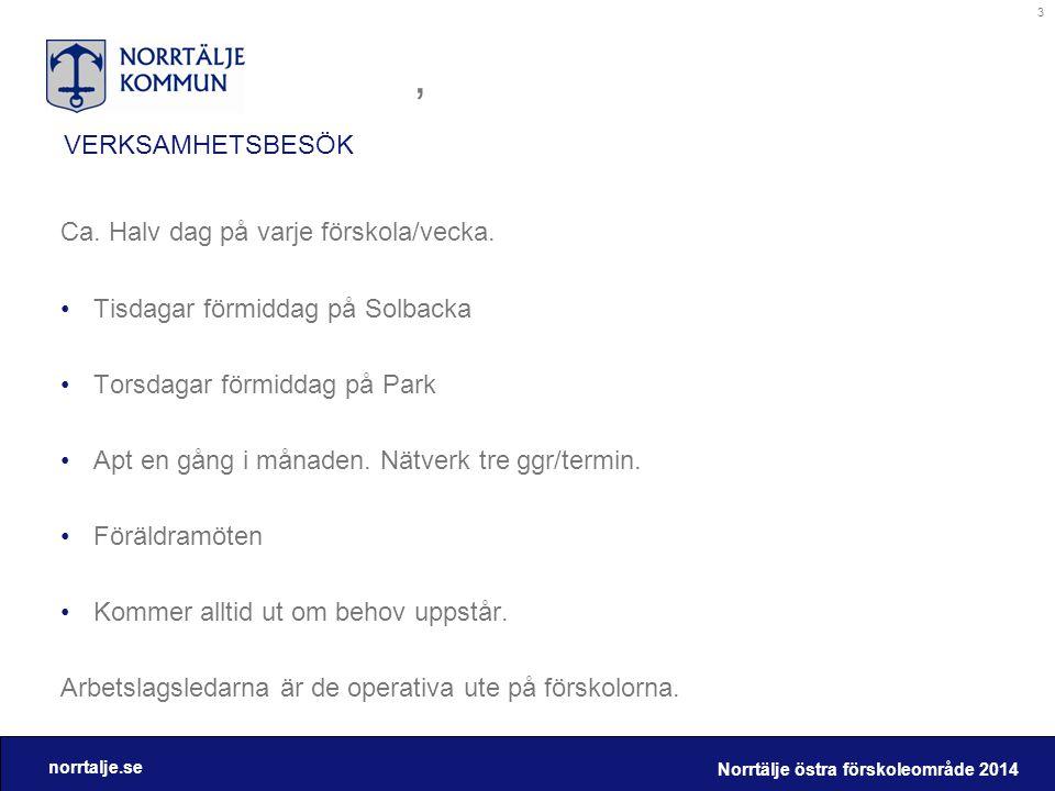 norrtalje.se VERKSAMHETSBESÖK, Ca. Halv dag på varje förskola/vecka. •Tisdagar förmiddag på Solbacka •Torsdagar förmiddag på Park •Apt en gång i månad