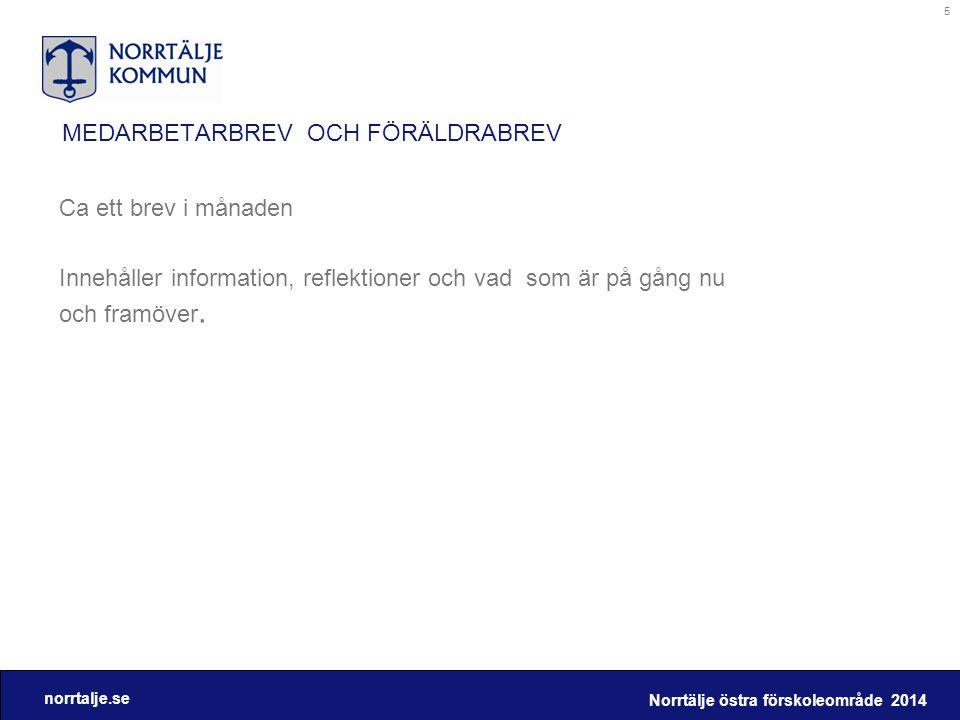 norrtalje.se MEDARBETARBREV OCH FÖRÄLDRABREV Ca ett brev i månaden Innehåller information, reflektioner och vad som är på gång nu och framöver. Norrtä