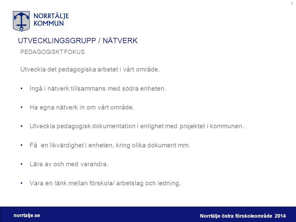 norrtalje.se UTVECKLINGSGRUPP / NÄTVERK PEDAGOGISKT FOKUS Utveckla det pedagogiska arbetet i vårt område. •Ingå i nätverk tillsammans med södra enhete