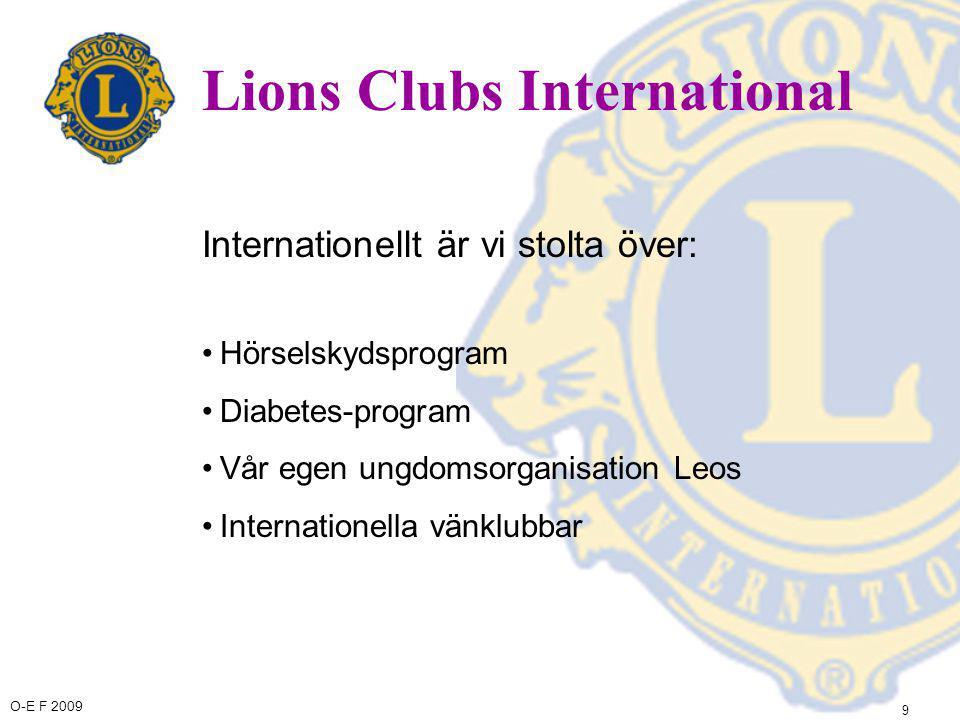O-E F 2009 10 Lions Clubs International Internationellt är vi stolta över: •Sight First -kampanjen, för att förhindra onödig blindhet •Andra synvårdsprogram, såsom ögonkliniker, insamling av glasögon, blindskolor •Den vita käppen konstruerade lion George A.