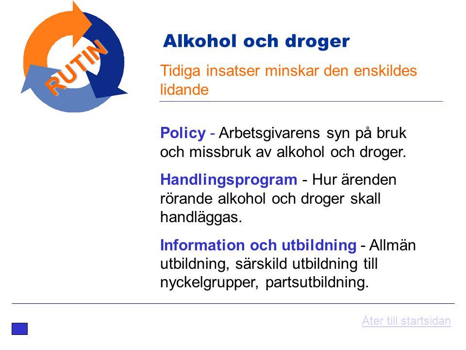 Tidiga insatser minskar den enskildes lidande RUTIN Policy - Arbetsgivarens syn på bruk och missbruk av alkohol och droger. Handlingsprogram - Hur äre
