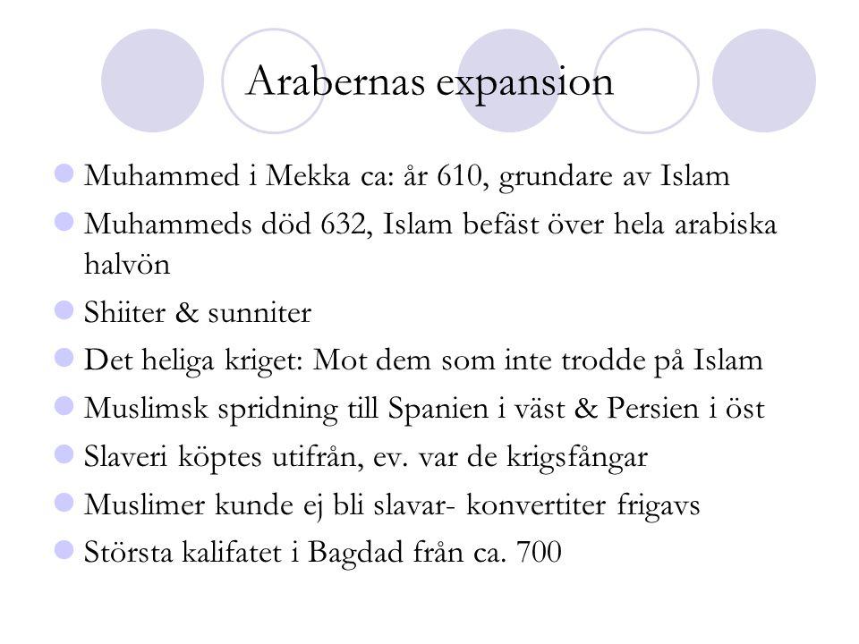 Arabernas expansion  Muhammed i Mekka ca: år 610, grundare av Islam  Muhammeds död 632, Islam befäst över hela arabiska halvön  Shiiter & sunniter