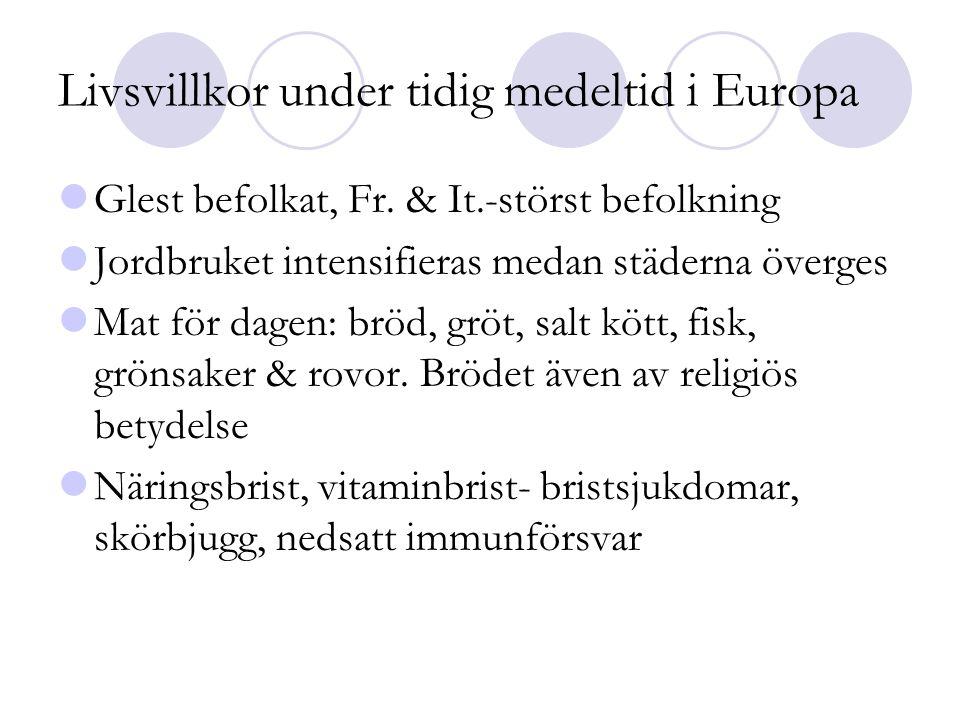 Livsvillkor under tidig medeltid i Europa  Glest befolkat, Fr. & It.-störst befolkning  Jordbruket intensifieras medan städerna överges  Mat för da